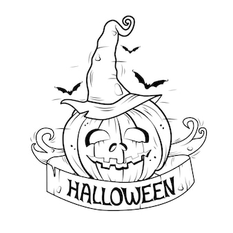 Halloween black and white illustration . vector. banner, coloring book.