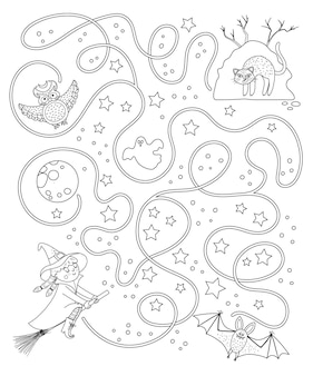 Halloween black and white maze for children. autumn preschool printable educational activity. funny day of the dead game or coloring page. help the witch get to her hill