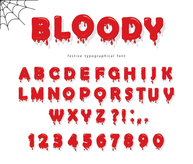 Halloween blood font. abc red liquid letters and numbers.