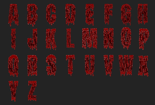 Halloween bloody alphabet set from vector