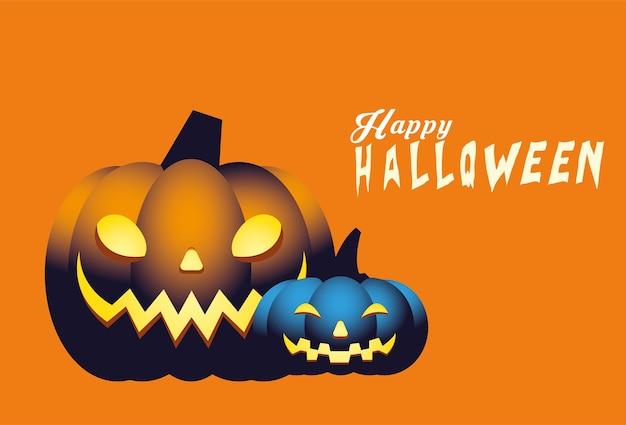 할로윈 파란색과 주황색 호박 만화 디자인, 휴일 및 무서운 테마
