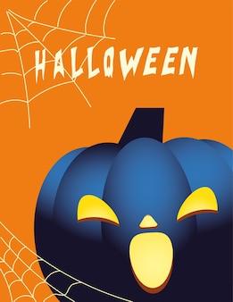 Хэллоуин синий тыквенный мультяшный дизайн, праздник и страшная тема