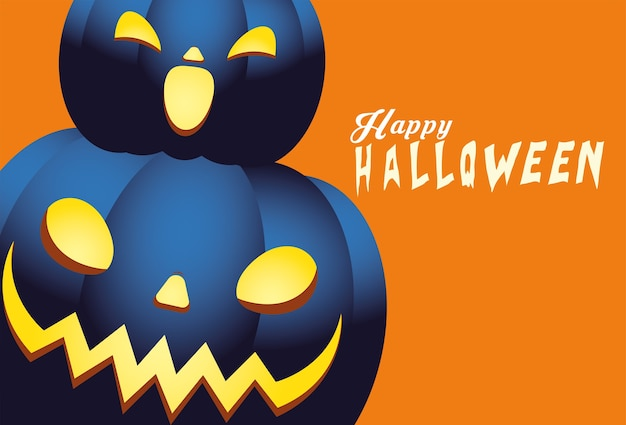 Хэллоуин синие тыквы мультфильмы дизайн, праздник и страшная тема