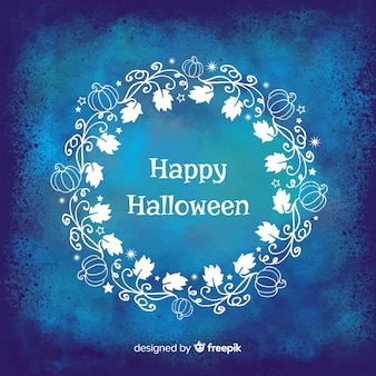 Halloween blue watercolor background