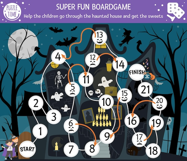 Halloween board game for children with haunted house and cute children. educational boardgame with bat, skeleton, ghost. help the children go through the spooky cottage printable activity.