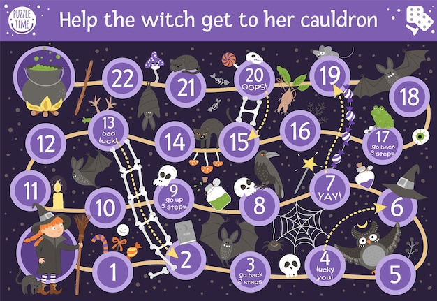 Настольная игра на хэллоуин для детей с милой ведьмой и страшными животными. образовательная настольная игра с битой, метлой, черным котом, пауком. помогите ведьме добраться до ее котла. веселая распечатанная деятельность.