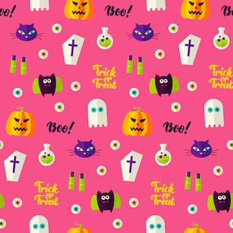 Halloween boo seamless pattern. vector illustration of holiday background. trick or treat.
