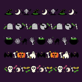 Halloween border collection in flat design