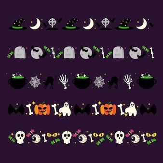 Коллекция бордюров на хэллоуин в плоском дизайне