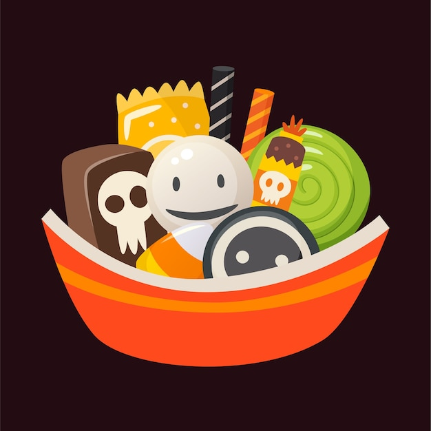 Halloween bowl full of sweets, candies and desserts