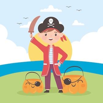 Halloween boy pirate costume and pumpkins