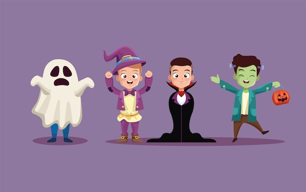 Halloween boys kids cartoons with costumes design, holiday and scary theme