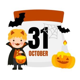 Halloween calendar vector.