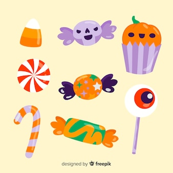 Halloween candies hand drawn