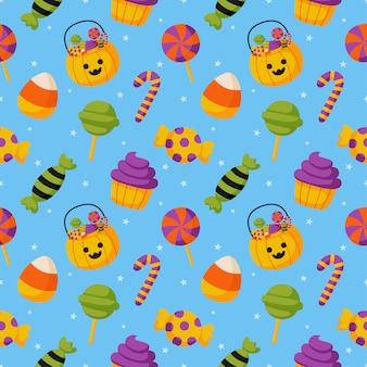 Halloween candies seamless pattern on blue background.