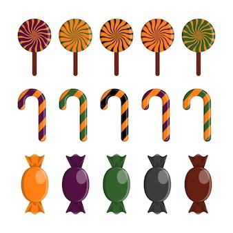 Набор векторных конфеты хэллоуин. традиционные октябрьские сладости в осенних красках. изолированные мультфильм иконки для дизайна хэллоуина