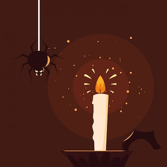 Halloween candle light with spider