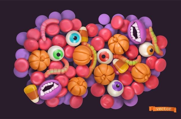 Конфеты на хэллоуин. 3d векторный мультфильм фон