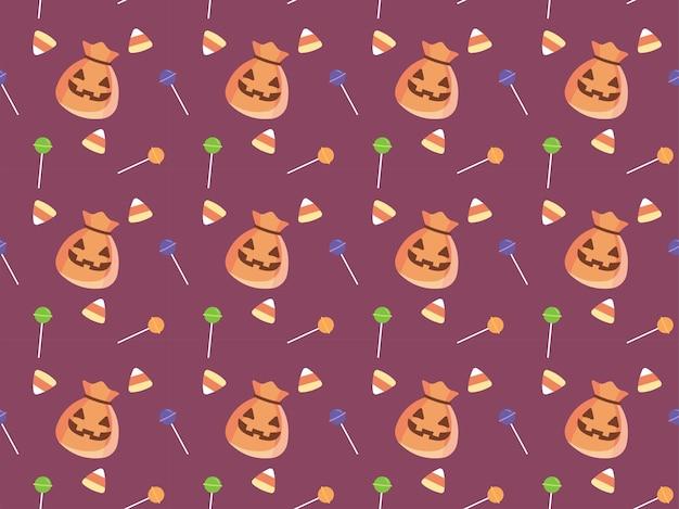 ハロウィンキャンディーとポーチハロウィンイラストパターン