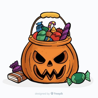 Halloween candy back composition in hand drawn style