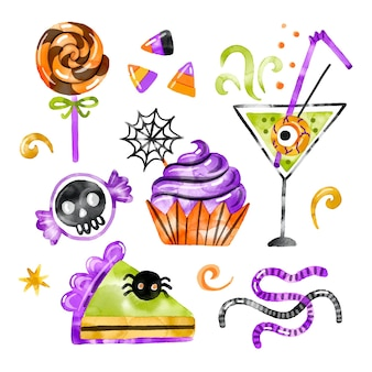 Halloween candy collection watercolor design Free Vector