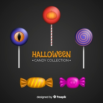 Halloween candy collection with realistic design