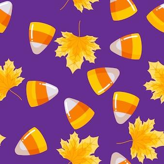 Halloween candy corn seamless pattern.