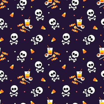 Halloween candy corn and skull seamless pattern.
