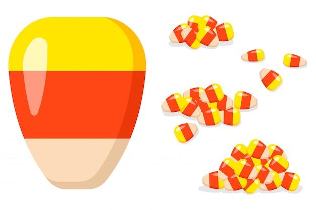 할로윈 사탕 옥수수 벡터 만화 세트 격리입니다.