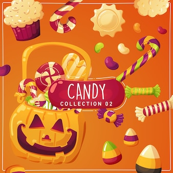 Halloween candy illustration for kids
