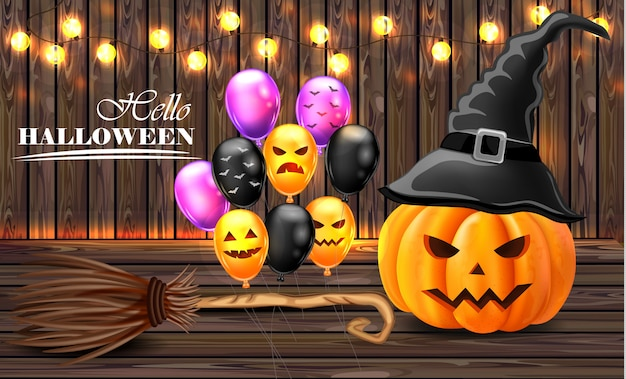 Halloween card background with pumpkins witches