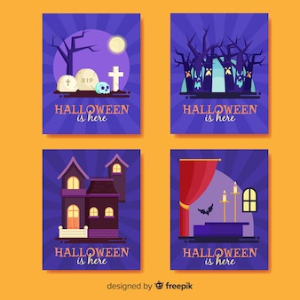 Halloween card collection in flat design