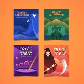 Коллекция открыток на хэллоуин в плоском дизайне