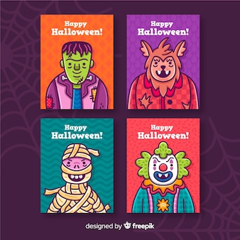Halloween card collection on violet background with cobweb