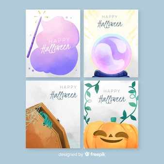 Halloween card collection watercolor style