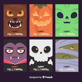 Halloween card collection with funny monsters