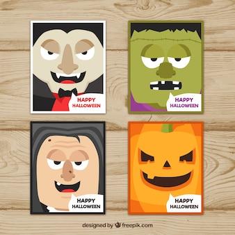 Raccolta di biglietti di halloween con mostri