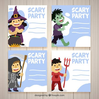 Halloween card pack with friendly characters