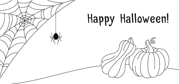 Halloween card pumpkin cobweb and spider doodle drawing banner pumpkins scary spider