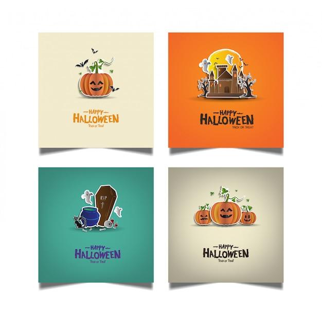 Halloween card set in pape rart style