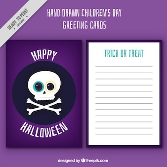 Halloween card of skull Free Vector