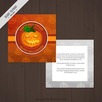 Halloween card template with a creepy pumpkin Free Vector