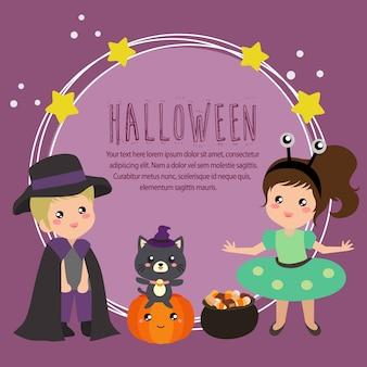 Halloween card with alien costume