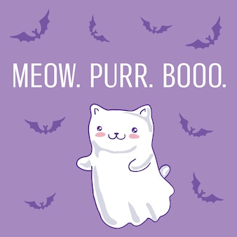 Halloween card with cat as kawaii ghost