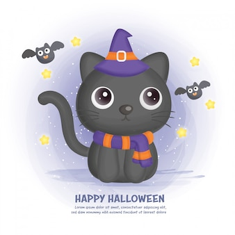 Halloween card with cute cat .