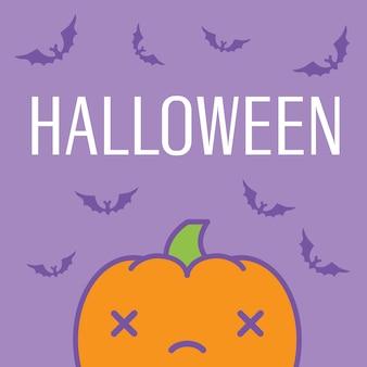 Halloween card with dead kawaii pumpkin vector illustration.