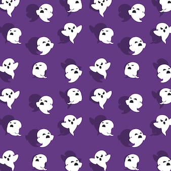 Halloween card with ghost pattern background