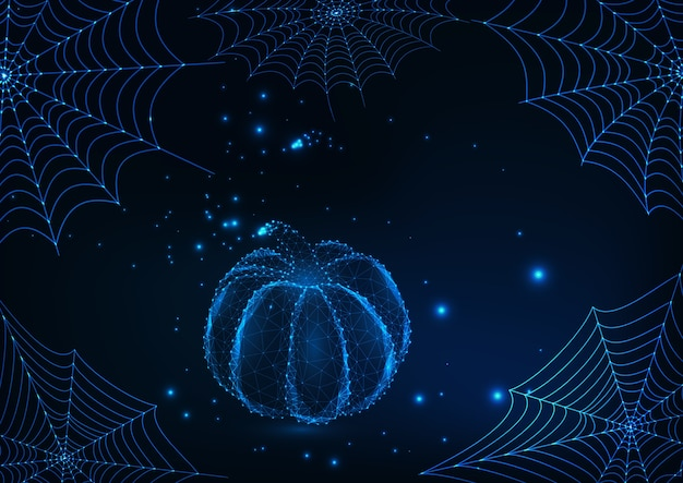 Halloween  card  with glowing spider webs and low poly pumpkin