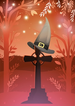 Halloween card with graveyard and witch hat scene