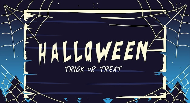 Halloween card with label trick or treat illustration design